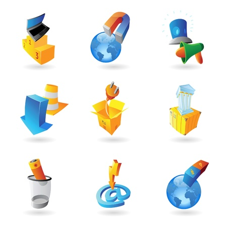 clipart podium: Icons for industry and ecology Illustration