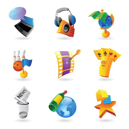 Icons for leisure, travel, sport and arts Vector