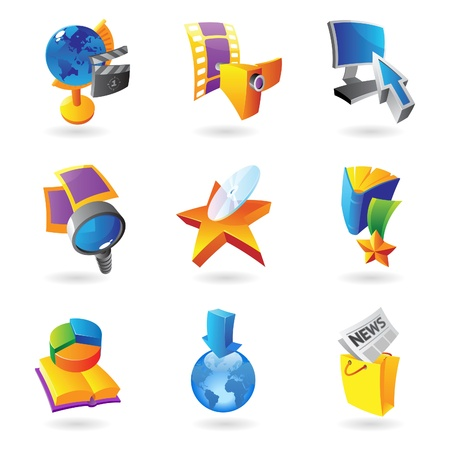 Icons for media, information and entertainment Vector