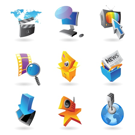 Icons for media, information and entertainment Stock Vector - 15082127