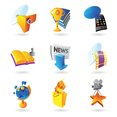 Icons for media, information and entertainment Stock Vector - 15082082