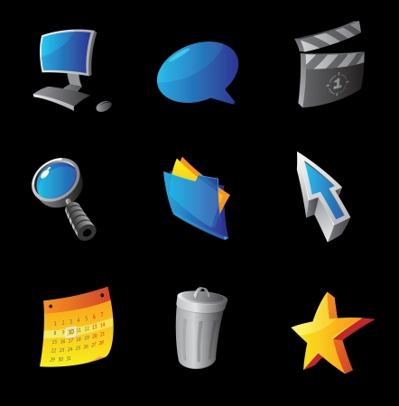 Icons for computer interface, black background Vector