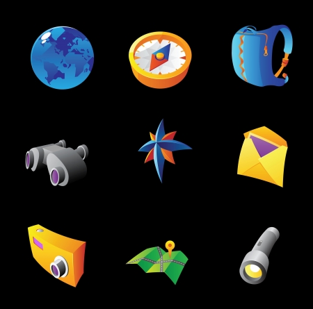 pocket flashlight: Icons for travel and tourism. Black background Illustration