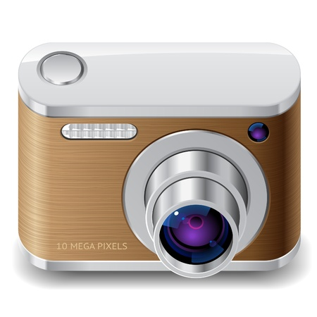 Icon for compact camera decorated with wood.