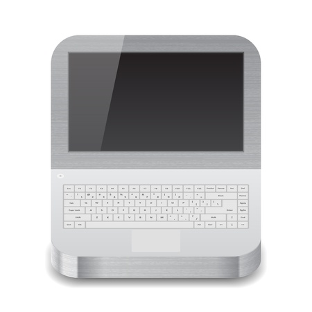 palmtop: Icon for laptop with black display.  Illustration