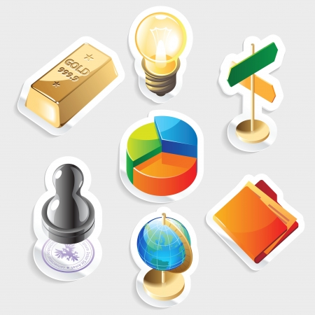 piechart: Sticker icon set for business Illustration