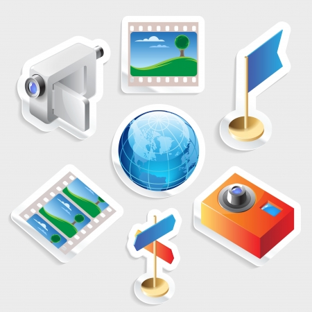 isometry: Sticker icon set for travel and tourism