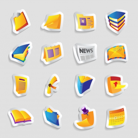 index card: Icons for books and papers Illustration