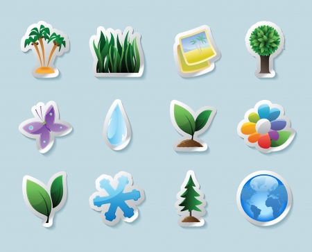 Sticker button set. Icons for nature and ecology Vector