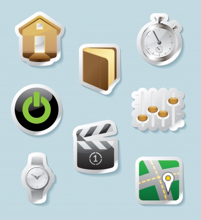 Sticker button set. Icons for signs and interface Vector