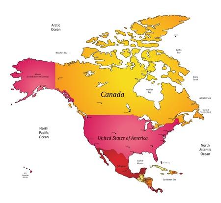 Mapa de América del Norte Ilustración de vector