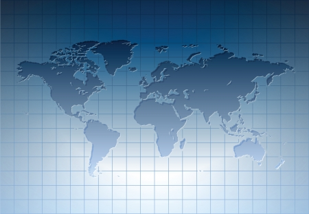 Blue world map Vetores