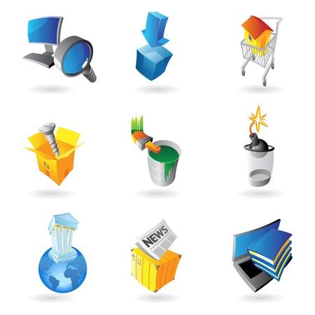 lens brush: Icons for industry  Vector illustration