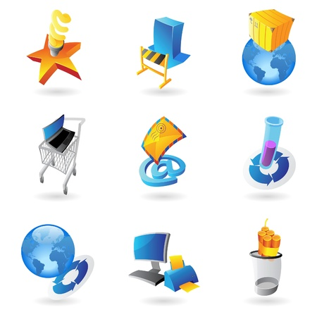 email bomb: Icons for industry and ecology  Vector illustration  Illustration