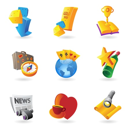 symbols metaphors: Icons for leisure, travel, sport and arts  Vector illustration  Illustration