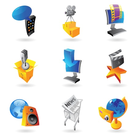 Icons for media, information and entertainment   Vector illustration Stock Vector - 15304697