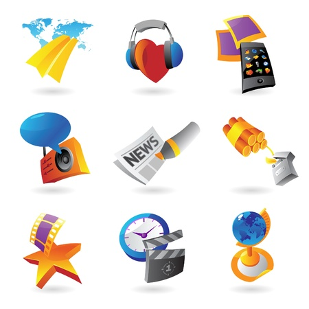 Icons for media, information and entertainment   Vector illustration Stock Vector - 15304690