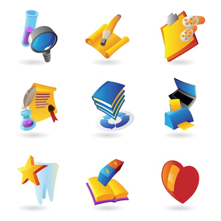 medical clipboard: Icons for science, education and medicine  Vector illustration