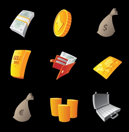 Icons for money, black background  Vector illustration  Vector