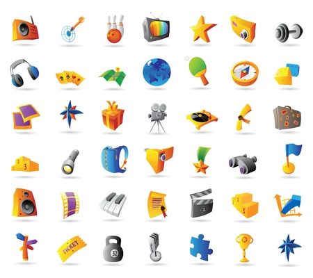 ticket icon: Icons for sport, travel, leisure and entertainment  Vector illustration