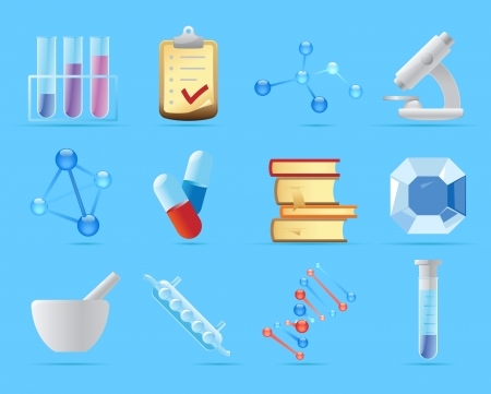 Icons for chemistry  Vector illustration  Vector