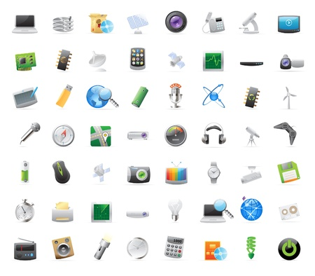 torchlight: 56 detailed vector icons for techology and devices