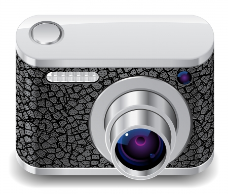 Icon for compact camera decorated with leather  White background  Vector saved as eps-10, file contains objects with transparency