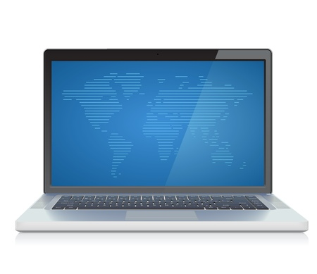 laptop: Laptop with abstract World map on screen  Vector illustration  Illustration