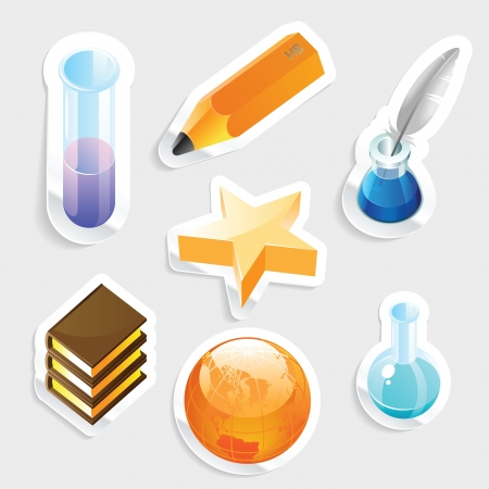 Sticker icon set for education and science   Vector illustration Stock Vector - 15304654