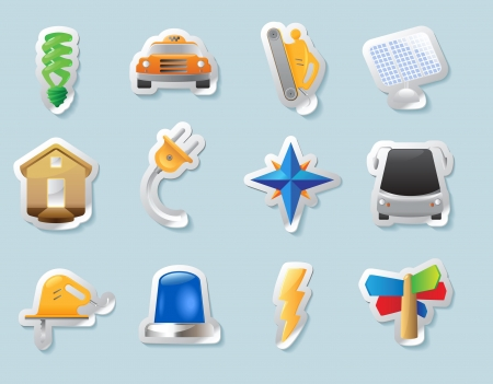 Sticker button set  Icons for industry, construction and energy  Vector illustration Stock Vector - 15304635