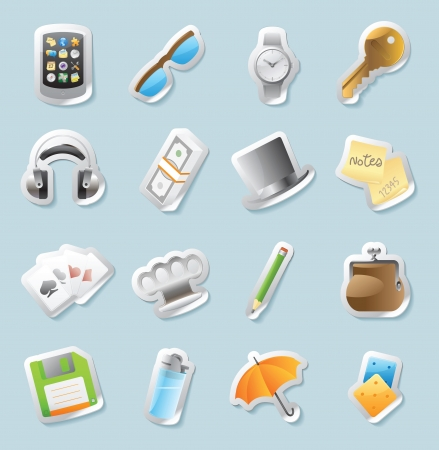 Sticker button set  Icons for personal belongings  Vector illustration Stock Vector - 15304642