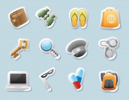 belongings: Sticker button set  Icons for personal belongings  Vector illustration