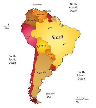 Carte d'illustration vectorielle en Amérique latine