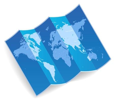 Blue folded world map  Vector illustration  Illustration