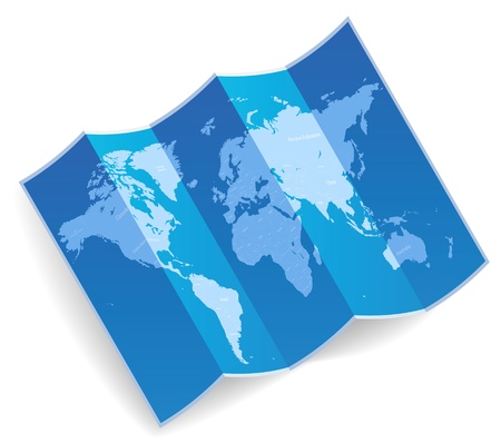 Blue folded world map  Vector illustration  Illustration