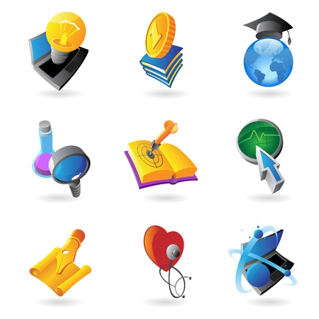 Icons for science, education and medicine   Vector