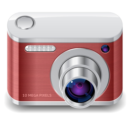 Icon for red compact camera.  Illustration