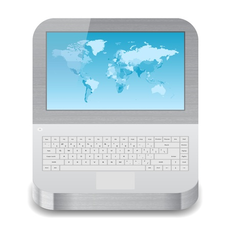 palmtop: Icon for laptop with blue world map on display. White background.  Illustration