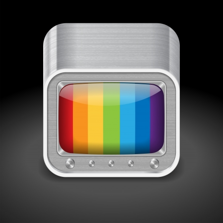 Icon for retro-styled television set. Dark background. Stock Vector - 15526428