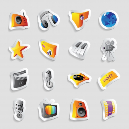 ticket icon: Icons for media and music.  Illustration