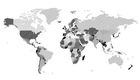 dotted world map: World map with textured countries. Illustration