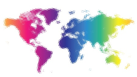 Multicolored dotted world map. Vector