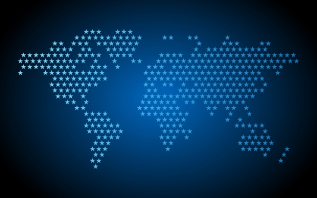 Blue dotted world map made of star shapes. Vector