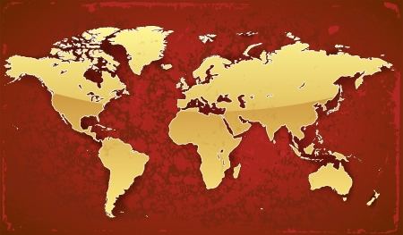 World map of gold color on red grunge background Vector