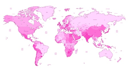 Detailed World map of pink colors  Names, town marks and national borders are in separate layers