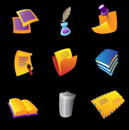 inkpot: Icons for stationery, black background