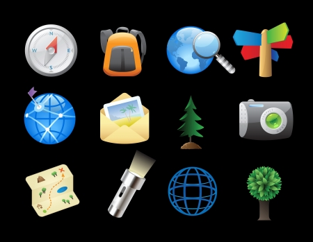 Icons for tourism and backpacking   Vector