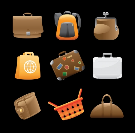 ruck sack: Icons for various bags.  Illustration