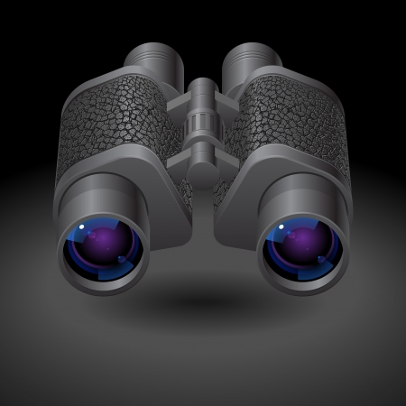 Icon for binoculars. Dark background, file contains objects with transparency. Vector