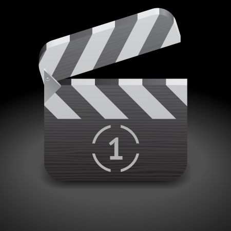 Icon for clapper board. Dark background, file contains objects with transparency. Stock Vector - 15547891